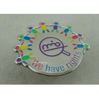 Die Struck Iron Epoxy Award Soft Enamel Pin , Silver Club Badges With 3D Logo Manufactures
