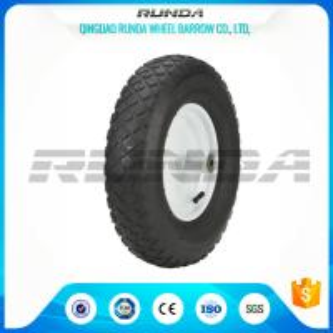 "Quality Blocky Patterns Pneumatic Rubber Wheels 2PR , Hand Trolley Wheels 8"" Steel Rim for sale"