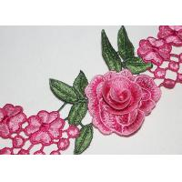 3D Flower Multi Colored Embroidered Lace Trim With High Color Fastness Azo Free