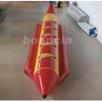 Red 0.9 mm Thick PVC Tarpaulin Inflatable Banana Boat For Lake / Sea Manufactures