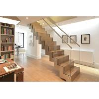 Australian Standard Stair Double Steel Zig Zag Stringers Steel Glass Railing Wood Step Staircase Manufactures