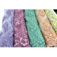 Beaded Embroidered Mesh Lace Fabrics, 3D Floral Lace Fabrics For Evening Dresses Manufactures