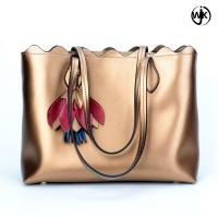 Factory new design tote ladies bag golden color woman beach handbag handmade tote leather bag Manufactures