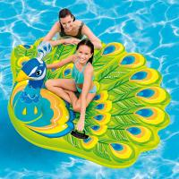 """Summer Custom Logo Peacock Inflatable Pool Float Island, 76X 64X 37"""" For Ages 6+ Manufactures"""