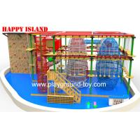 Galvanized Steel  Home Park Adventure Playground Ropes / Solid Wood Manufactures