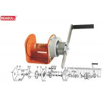 Portable Mini Manual Hand Winch 1 Ton With 8mm Wire Rope / Orange Painting Manufactures