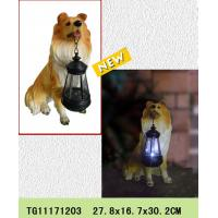 New products polyresin dog figures rechargeable lantern for garden solar light Manufactures