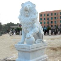 China Western Style Life-size White Marble Stone Sitting Lions Pair Sculpture on sale