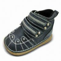 China Boy's Leather Shoe with Mesh Lining/Insole and TPR Outsole on sale