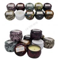 598g Printed Small Round Containers With Lids / Little Metal Boxes For Candle Manufactures