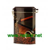 China oval coffee tin box with airtight plastic lid and metal clasp on sale