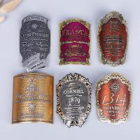Arch shaped metal red wine bottle labels