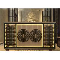 Chinese Style Reception Desk Display Case With Beautiful Hollow Carving Light Manufactures