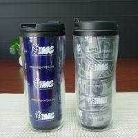 Double Wall Plastic Juice Cup Personalized  Kids Mugs White Blue Manufactures