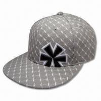 6 Panel Baseball Cap with Flat Peak without Closure on Back, Made of 100% Cotton Material Manufactures