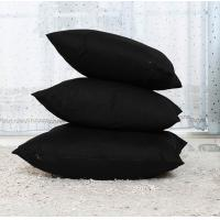 Natural fabric pillow case,black cotton cushion cover,plain dyed solid color pillowcase Manufactures