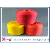 Quality High Tenacity Dyed 100 Polyester Spun Yarn / 100% Polyester Colored Thread Yellow Red Green for sale