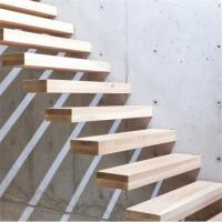 Customized wood floating stairs with prefab steel stair railing Manufactures