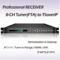 DVB-C IPTV System Professional Receiver Eight Channels RF TO IP Streaming Manufactures