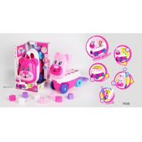 Pink Building Blocks Educational Toys For Kids Age 3 Years / Animal Trolley Cart Manufactures