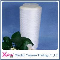 China Raw White 100% Ring Spun Polyester Yarn For Sewing On Paper Core / Dyeing Tube / Hank on sale