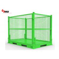 China Customized Steel Mesh Storage Cage With Metal / Plastic Pallets Bear 1000kg Weight on sale