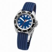 Quality Quartz Analog Watch with Metal Case, Rubber Band and Calendar Function for sale