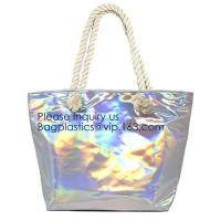 Waterproof All Over Printing PVC Coating Tote Shoulder Fabric Shopping Bag With Gusset And Lining,Jelly Clear Plastic PV