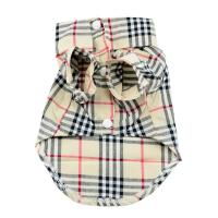 grid burberry style Pet Puppy Summer Shirt Pet Clothes T Shirt with button Manufactures