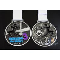 Buy cheap Running Marathon Riding Sports Metal Zinc Alloy Metal Award Medals Both 3D Side With Sublimated Ribbon from wholesalers