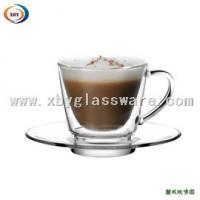 200ml glass double wall cup with handle & saucer Manufactures