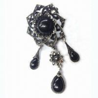 Quality Antique Metal Alloy Brooch with Resin beads/Rhinestone, Suitable for Commercial for sale