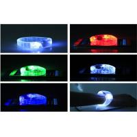 Mix Color PS PVC LED Glow  Sound Activated Bracelets For Women Powered With Coin Battery CE ROHS Manufactures