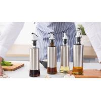 Metal Casing Glass Oil Bottles With Pourer / Stainless Steel Glass Vinegar Bottle Manufactures
