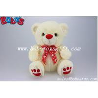 CE Approved Safety Soft Stuffed Teddy Bear In Beige Color With Red Nose Paw and Ribbon Manufactures