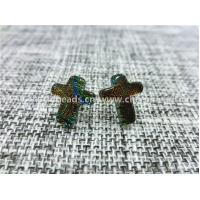 Dichroic Glass stud earrings colorful cross shaped fashion  for Women Jewelry by original factory wholsale supplier Manufactures