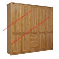 Quality five DOORS wardrobe chest with open doors in soft stainless hinge and rubber wood racks with cloth shelves for sale