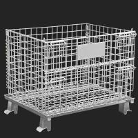Movable Metal Storage Cage , Folding Anticorrosion Wire Mesh Container Manufactures