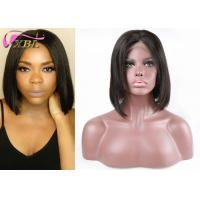 """Bob Style Natural Human Hair Swiss Lace Front Wigs No Tangle 12"""" Length Manufactures"""