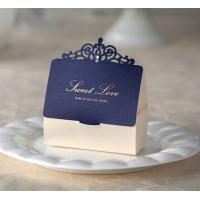 China Blue Golden Printing Candy Boxes Paper Laser Cut Wedding Boxes 2014 Wedding Decorations 081302 on sale
