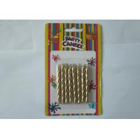 Luxury Metallic Gold Birthday Candles / Screw Swirl Birthday Candles Dripless ISO Certificated Manufactures