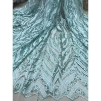 Beaded Embroidered Lace Fabric , 3D Flower Lace Mesh Fabrics For Evening Gowns Manufactures