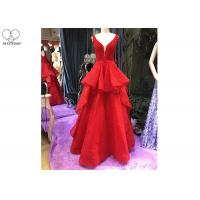 Red A Line Ball Gown Puffy Purffles V Neck Backless Lace Beaded Cotton Linen Manufactures