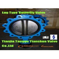 China Water PTFE Lined Worm Geared Lug Type Flange Butterfly Valve Standard ANSI / JIS on sale