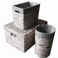 Recycled Newspaper Storages, Set of 3, Made of Cardboard Material, Natural Color Manufactures