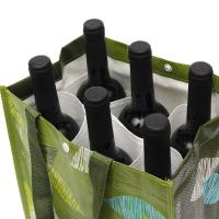 Personalized Reusable Non Woven Wine Bags Collapsible 6 Bottle Wine Tote Bag Manufactures