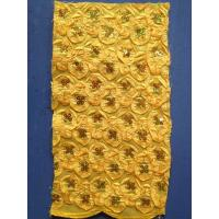 Dribbling Sequin Embroidered Fabric , Yellow Embroidered Taffeta Fabric Manufactures