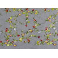 Soft Colored Embroidered Floral Lace Fabric / Net Lace Fabric For Women Wedding Dress Manufactures