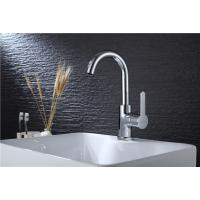 Chrome Plated Industrial Sink Faucet , Ceramic Valve Core Brushed Stainless Kitchen Faucet