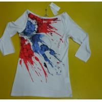 Womens 3 4 Sleeve Crew Neck T Shirts , Ribbed Lovely Womens Summer Tops Manufactures